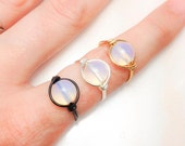 A Drop of Ocean - Unique Wire Wrap - Black Silver Gold - Opalite Glass Ring - Made to Order