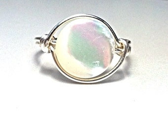 White Mother of Pearl Wire Wrapped ring - Coin Pearl - Iridescent shell ring
