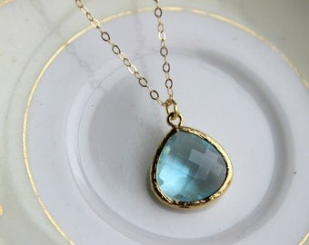 Blue Aquamarine Necklace Gold Plated Large Aqua Pendant - Gold Filled Chain - Wedding Jewelry - Bridesmaid Jewelry - Something Blue