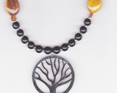 Handmade Jewelry, Beaded Necklace, Tree of Life Pendant, Nature Everlasting Beaded, Beadwork