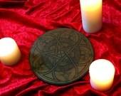 Wood Large Big Altar Tile Pagan Witch Craft Pentacle Celtic Knot / Knotwork Art