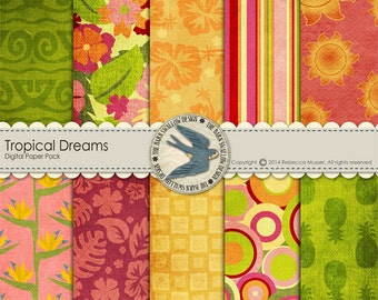 """Digital Scrapbook Paper Pack Instant Download - """"Tropical Dreams"""" -10 12""""x12"""" Papers for Vacation, Hawaii, Luaus, Island Cards, Scrapbooks"""