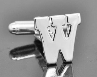 Initial W, Personalized cufflinks, Initial cufflinks, mens accessories, mens cufflinks, groomsmen gift, Gift for Father, Wedding day gift