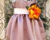 Vintage Toffee,champagne and orange satin flower girl dress,weddings,fall wedding, flower girls,junior bridesmaid, photo prop,birthday dress