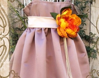 Vintage Toffee,champagne and orange satin flower girl dress,weddings,fall wedding, flower girls,junior bridesmaid, photo prop,birthday dress