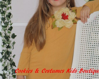 Girls mustard yellow long sleeve fall winter dress,thanksgiving, Christmas dress with ivory lace trim