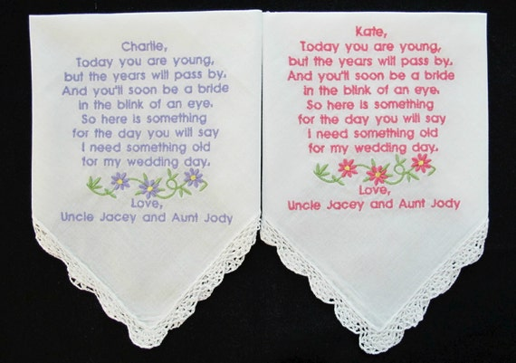 Flower Girls Embroidered Wedding Handkerchief