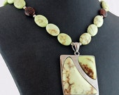 Chrysoprase and Mahogany Obsidian Pendant Necklace, Statement Necklace