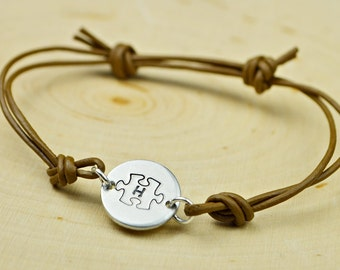 Puzzle Piece and Any Initial Monogrammed Leather Adjustable Bracelet- Hand Stamped Sterling Silver Filled Bracelet