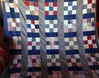 Antique Quilt Top, C 1900 Cotton Calicos , Hand Stitching Homemade, 9 patch  OOAK