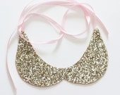 Peter Pan Collar Necklace Gold Sparkle Necklace