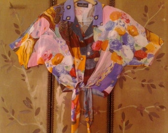 80s Cropped colourful blouse with waist tie