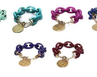 Monogrammed Gold Tone Enamel Link Bracelet