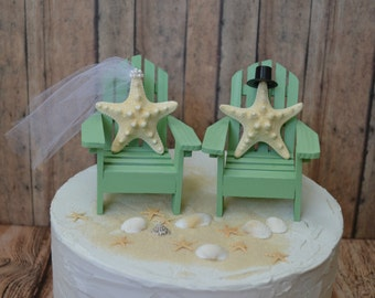Beach wedding cake topper-destination-bride and groom-mint green-sea foam-Mr and Mrs-starfish-cake topper-nautical-wedding-Adirondack chairs