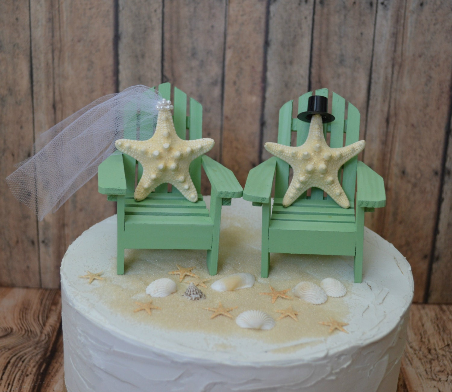 Beach Wedding Cake Topper Destination Bride And Groom Mint
