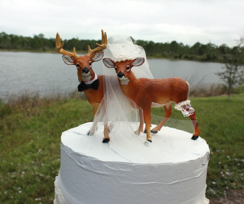 Ivory bride deer wedding cake topper bride and by