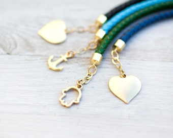 For Your choice Charms Leather Cord Bracelet by pardes israel