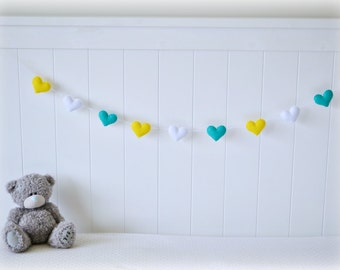 Heart banner/ garland/ bunting in turquoise, yellow and white felt - Nursery decor - birthday decoration - MADE TO ORDER
