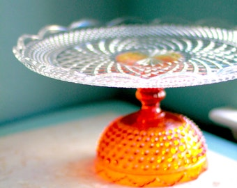 "Orange Cake Stand / Glass Cake Stand Cupcake Stand / Amberina Cake Plate / 14"" Wedding Cake Pedestal for Fall Autumn Weddings"