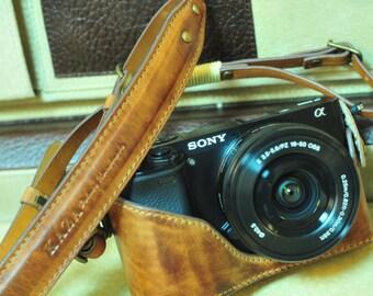 Sony A6000 combo case set in vintage brown , half case , strap set