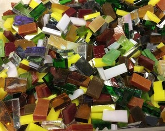 100 TINY BORDERS Mixed Colors Stained Glass Mosaic Border Tiles