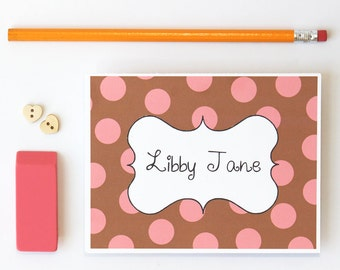 Personalized Stationary Polka Dot Custom Stationery Bridesmaid Gifts Teacher Gift Colorful Note Cards Thank You Notes Kids Cards / Set of 10