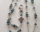 Breakaway Beaded ID Badge Lanyard Peacock AB Blue Faceted Beads and Silver Tone Beads