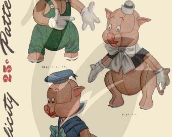 Reproduction Vintage Three Little Pigs Sewing Pattern S7112