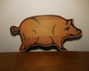 Vintage Primitive Wood Carved Pig Cutting Board