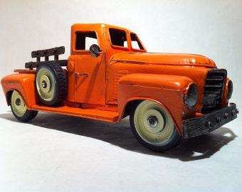 1950s Chevrolet Pickup Truck - Model 3100 Miniature Tin Metal Car Toy Works Vehicle in Orange Room Decor
