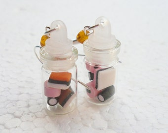 Jar of Licorice Allsorts Earrings. Polymer Clay