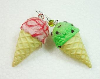 Ice Cream Earrings. Polymer clay.