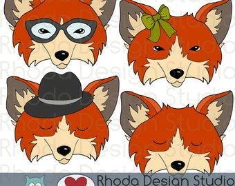 Fox Faces Digital Color Clip Art Hipster Foxes Illustrations