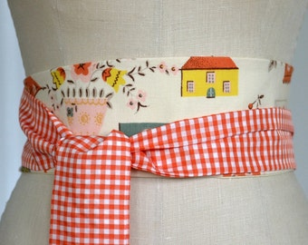 vintage cotton print obi belt sash, retro, orange white gingham, waist cincher reversible, lemon yellow