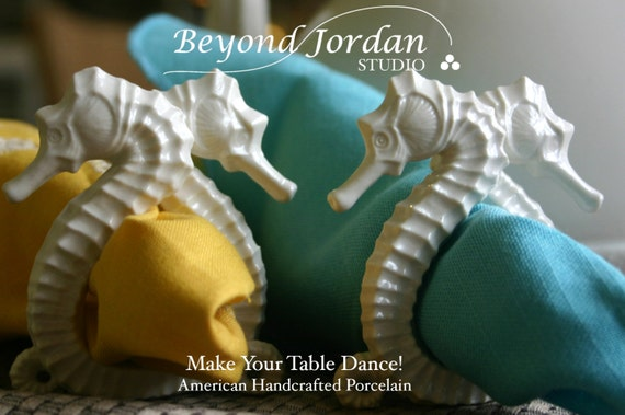 Seahorse Napkin Ring and Placecard Holder (Set of 4)