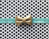 Gold Bow on a Lace Headband