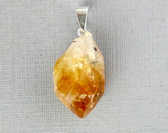 Citrine Point Pendant--  Raw Citrine Quartz Point Pendant with Silver Plated Bail S14B21-01