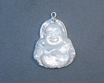 15% off Labor Day SALE Mother of Pearl Happy Buddha Buddah with Silver Electroplated Edge Pendant