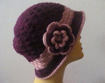 Woman Cloche Hat With Brim and Flower