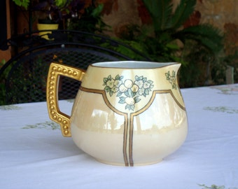 Gorgeous pitcher Deco hand painted lemonade or cider pitcher pre WWII Bavaria lustreware