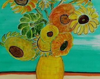 Sunflower Painting Still Life after Van Gogh Origianl Painting Watercolor Painting Art Study