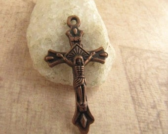 Small Antique Copper Rosary Crucifix