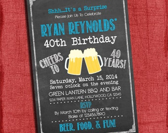 Surprise 21st, 30th, 40th, 50th Beer Cheers Chalkboard Style Birthday Invitation 4x6 or 5x7-Printable