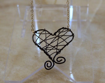Black Love Wire Necklace