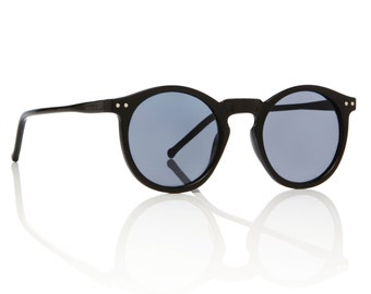 OMalley Round Black Sunglasses - Smoke Lens Glasses X American Deadstock