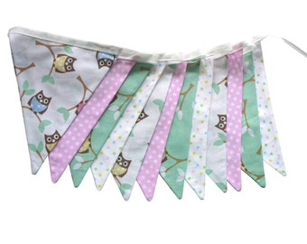 Hoot Owl Flag Bunting for Girls. Use - Wall hanging, Parties, Market Stall, Bedroom Decoration, etc .  Made in Australia