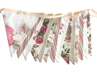 Vintage Style Bunting - Roses and Lace Flags. Party, Market Stall . HANDMADE . High Tea Banner Decoration Birthday