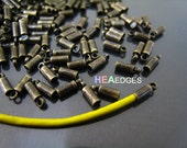 Finding - 20 pcs Antique Brass Small Round Tone Cord End Buckle Cap with Loop for Leathers 6mm x 2mm ( inside 1mm Diameter )