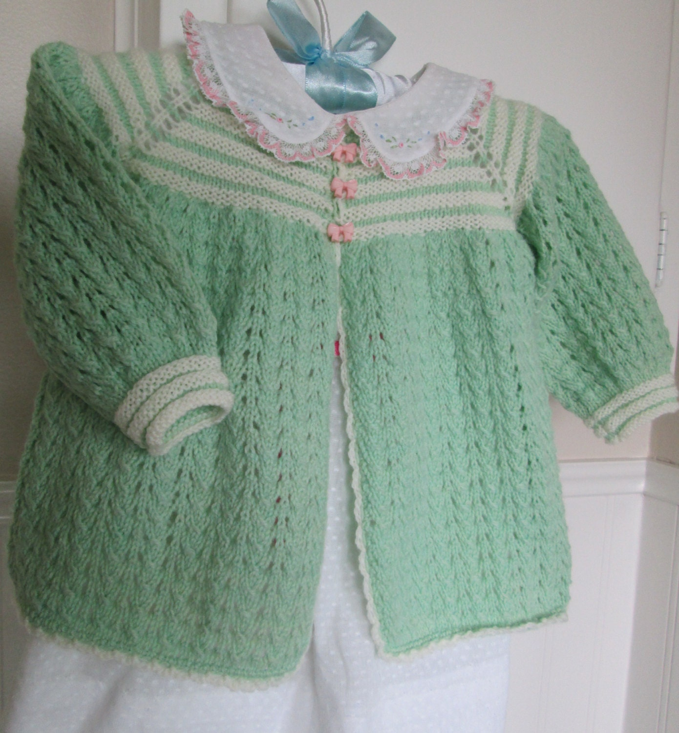 Knitting Baby Sweater Measurements : Baby girl sweater coat hand knit size m mint green and