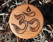 "Om in Sanskrit Pyrography Woodburning on 1.5"" Diameter Round Box"